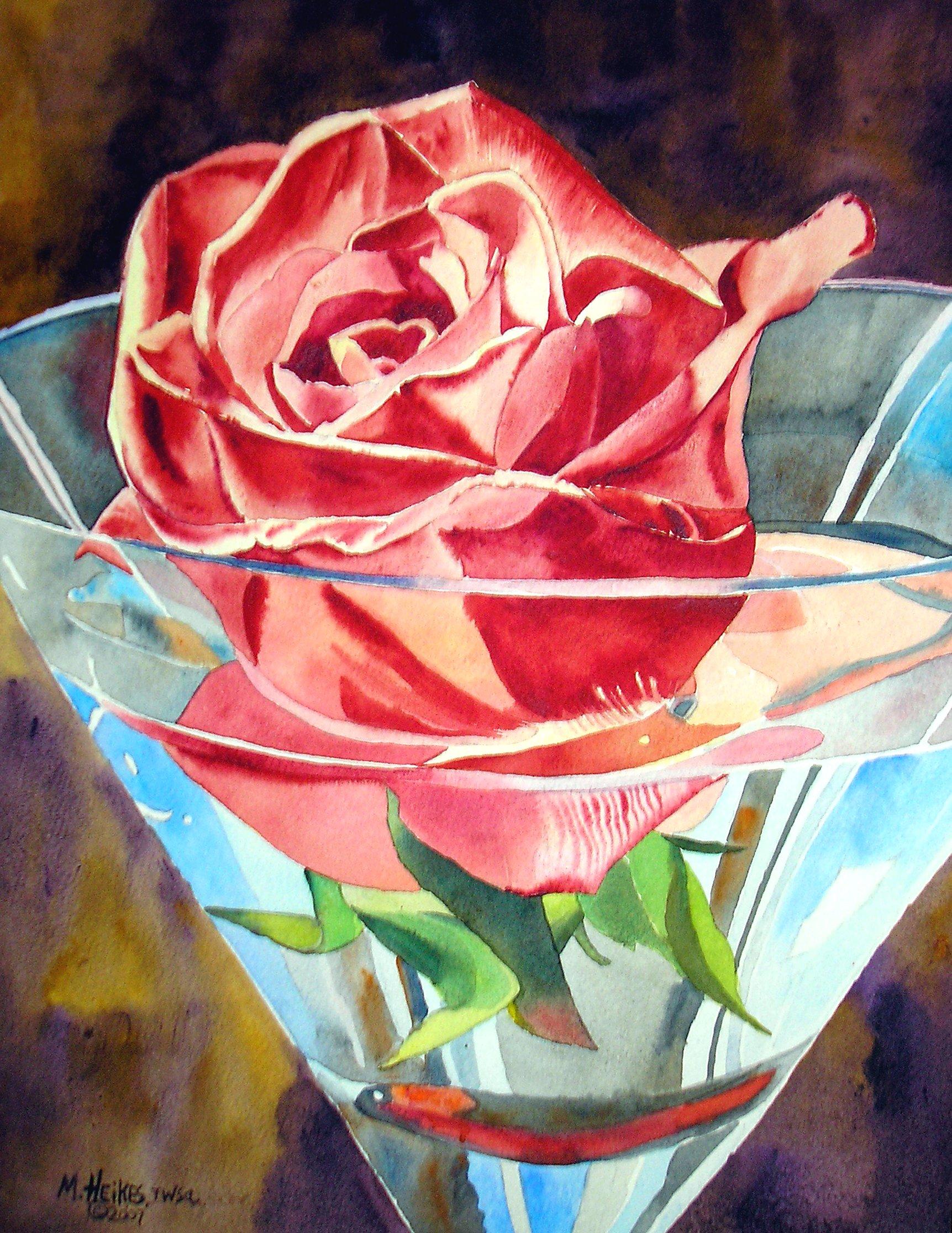 Carmine Rose In Glass