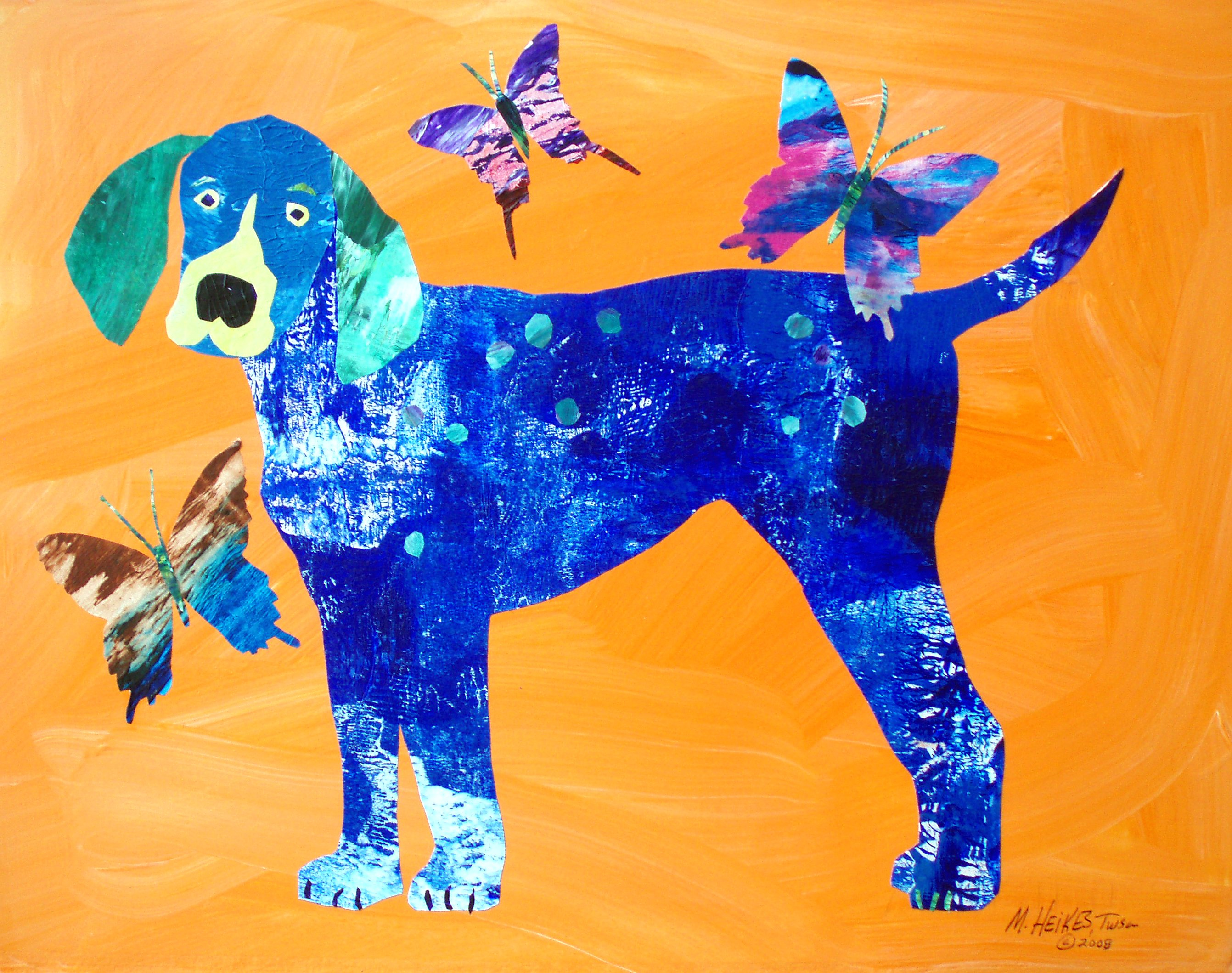 Blue Dog & Butterflies