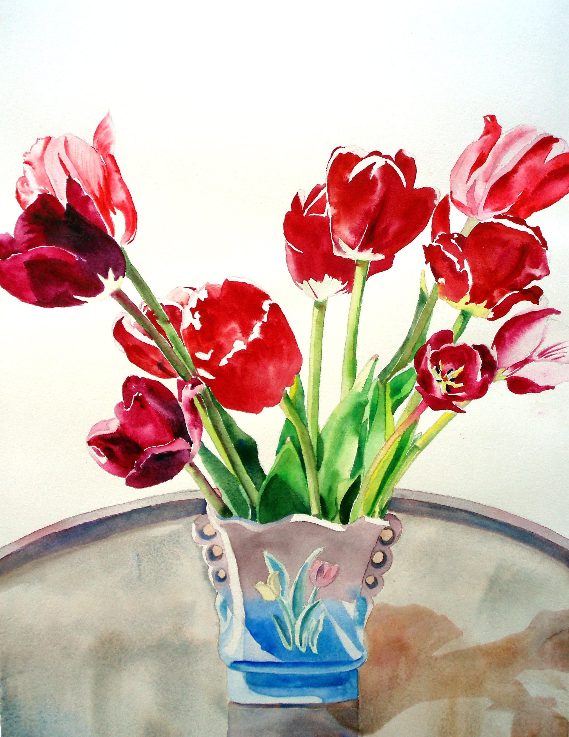 Scarlet Tulips in Hull Vase