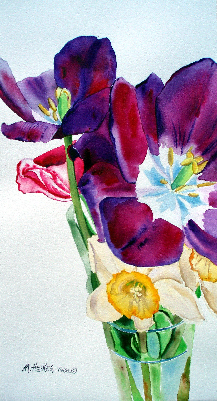 Daffodils and Purple Tulips
