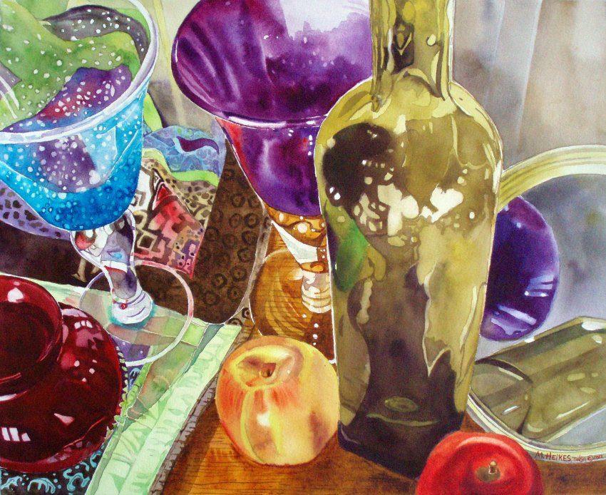 Fruit, Bottle & Goblets