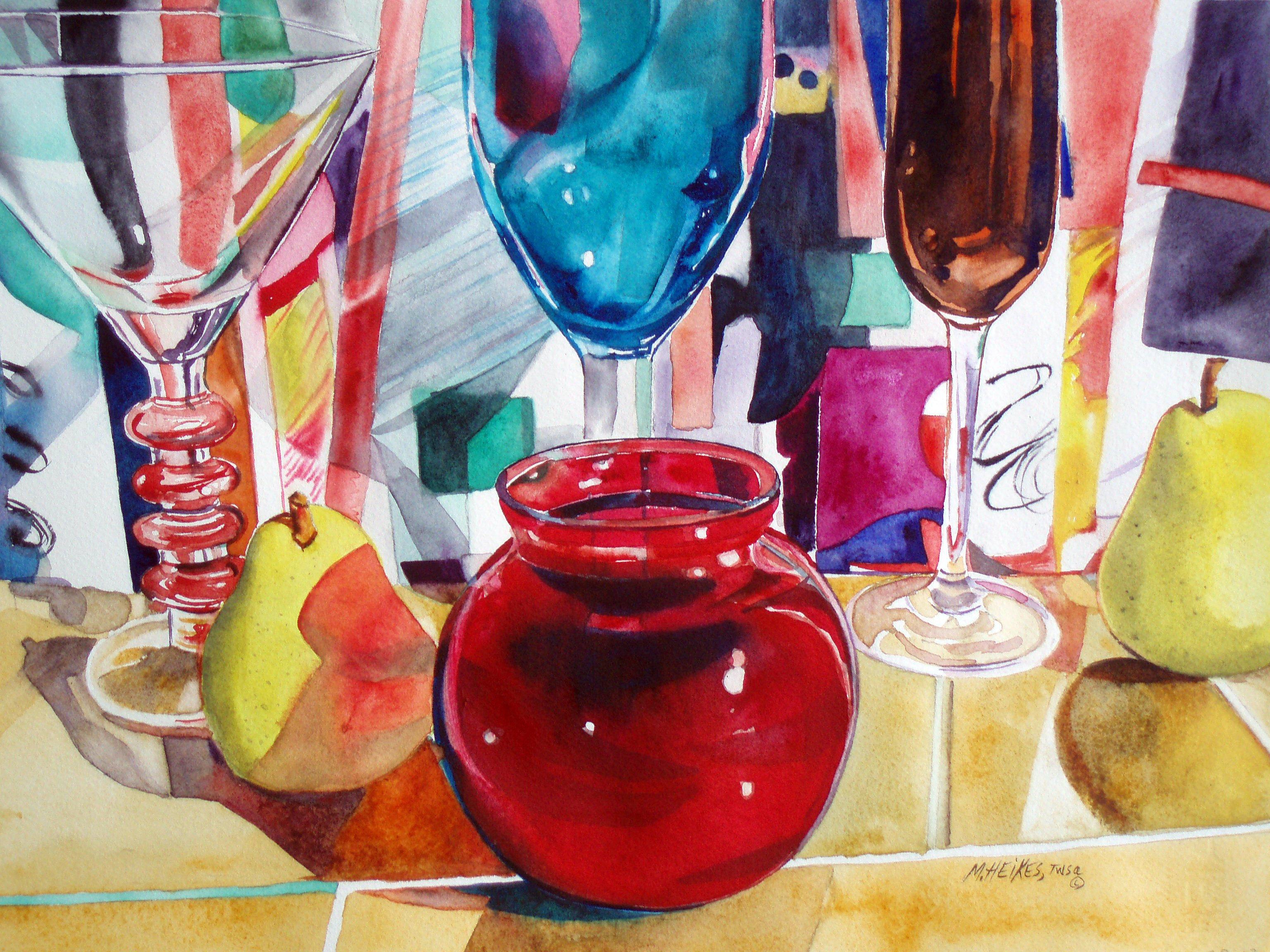 Ruby Vase & Pears