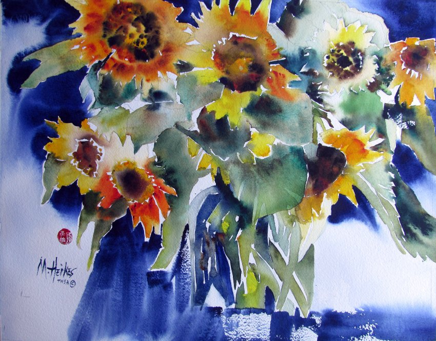 Cadmium Sunflowers with Indigo
