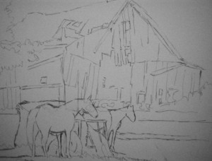 Sketch of barn