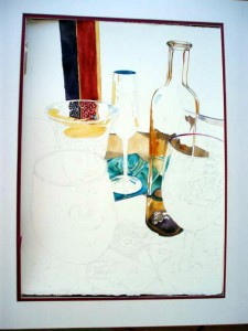 Glassware painting in progress