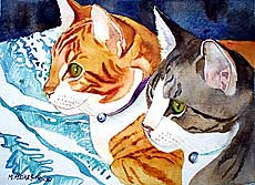 Portrait of orange and gray tabbies.
