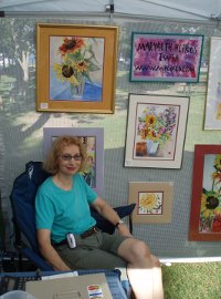 Marybeth at her booth space.
