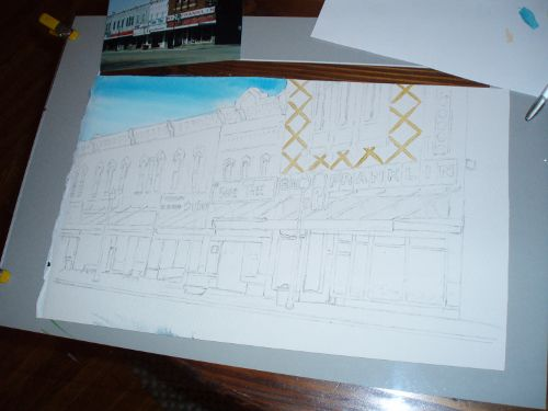 Painting of the Centerville square in progress.