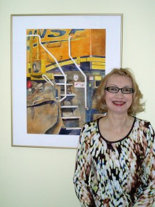 Marybeth Heikes with BNSF painting