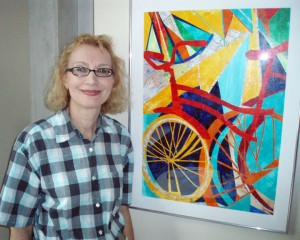 Marybeth Heikes with Bicycle artwork